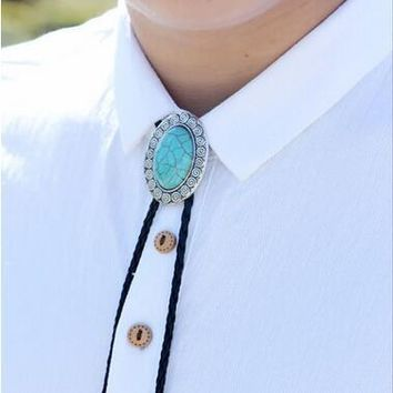Elegant Natural Stone Cowboy Bolo Tie Women Fashion Jewelry Black Tie Neck Wear Office clothing Accessories Turquoise Necklace