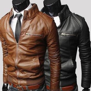 Men's leather fur coat of new fund of 2017 autumn winters Cultivate one's morality fashion leather jacket