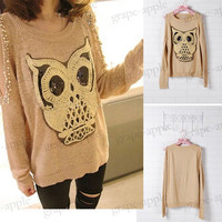 BEST ! NEW ARRIVAL FASHION Lovely Paillette Owl Off-Shoulder Sweater YWF-0112-KK