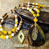 Tigers Eye feather necklace, boho festival fashion jewelry