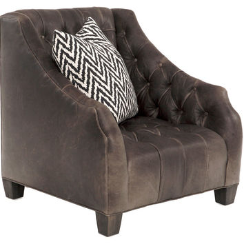 Luis Tufted Leather Wingback, Espresso, Wingbacks