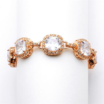 Rose Gold Petite Length Cushion Cut CZ Bridal or Pageant Bracelet