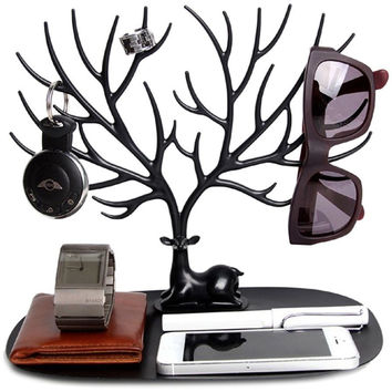 Chic Antler Tree Shaped ABS Plastic Jewelry Holder Bracelet Ring Necklace Earring Showing Display Shelves Stocked Ornamental