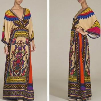 Yellow Floral African Tribal Print V-neck Long Sleeve Maxi Dress