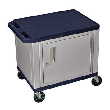 H. Wilson 2 Shelf Multipurpose Topaz Nickel Utility Cart Lockable Storage Cabinet 3 Electrical Outlet