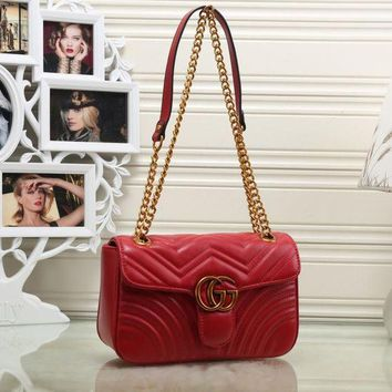 Gucci Women Fashion Shopping Chain Leather Crossbody Satchel Shoulder Bag G