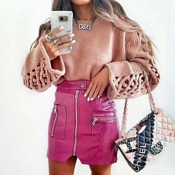 Pink Plain Zipper Button Fly Fashion PU Leather Skirt