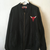 Vintage 90s Chicago Bulls Black Silk Embroidered Jacket Size Large