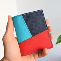 Slim Wallet / Bifold / Thin / Minimalist / Boys, Men, Women Wallet / Upcycled materials / Tricolor / Dark blue ~ Turquoise ~ Red