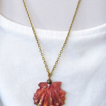 Copper Scallop Shell Pendant Necklace - Small Copper Shell Jewelry - Red & Gold Copper Shell Jewelry - Nature Inspired Pendant Jewelry