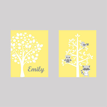 Tree on Yellow Name Tree with Animals Owl Raccoon CUSTOMIZE YOUR COLORS 8x10 Prints Set of 2, nursery decor nursery print art baby decor