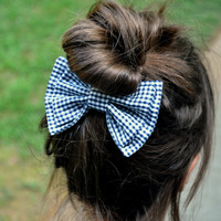 Black and White Gingham Bow