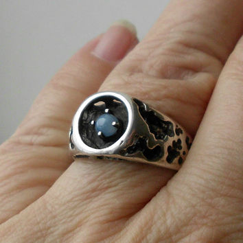 Vintage Modernist Star Sapphire Ring Sterling Silver Mid Century Size 10