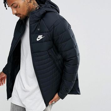 Nike AV15 Padded Jacket With Hood In Black 861782-010 at asos.com