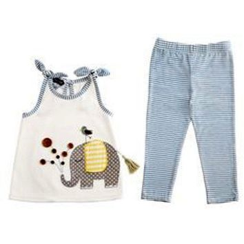 Mud Pie-Elephant tunic and Legging Set, Multi