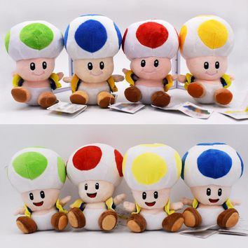 Super Mario party nes switch 16cm 8 Styles  Plush Toy Toad Close Open Mouth Mushroom Green Blue Red Yellow Stuffed Doll Christmas Gift For Kids AT_80_8