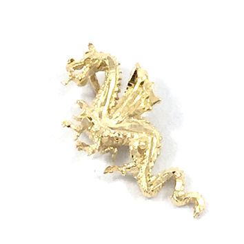 Dragon Diamond Cut 1'1/2' Gold Plated Charm Pendant