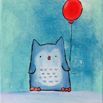 Owl Painting, Whimsical Kids Wall Art, Woodland Nursery Decor