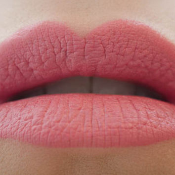Petal to the Metal : a bold, semi-matte, vegan, opaque bright melon pink lipstick