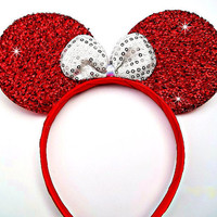 MINNIE MOUSE EARS Headband Red Sparkle Shimmer white Sequin Bow Mickey