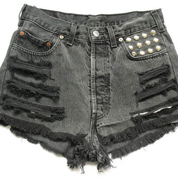 Studded Levi high waisted shorts L by deathdiscolovesyou on Etsy