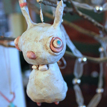 Klopp Kids OOAK Original Primitive Clay Bunny Rabbit Ornament Ugly Doll Buck Teeth Freak Goth Macabre Fantasy Oddity Funny Ornie Blue Boy