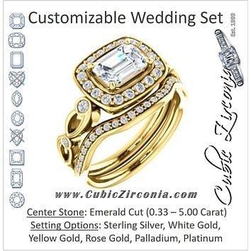 CZ Wedding Set, featuring The Madison engagement ring (Customizable Emerald Cut Design with Halo and Bezel-Accented Infinity-inspired Split Band)