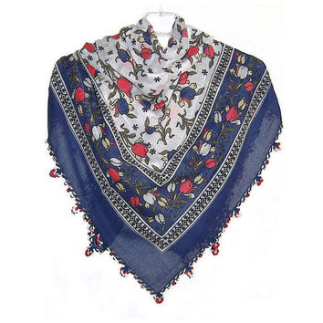Traditional Turkish Yemeni Cotton Scarf With Lace, Navy Blue / Red / White Tulip Pattern