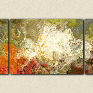"Oversize triptych contemporary art canvas print, 30x60 to 40x78 in olive greens and rusty oranges, ""Chrysanthemum"""
