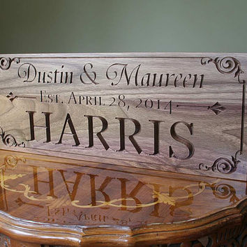 Established Family Sign Custom Wood Sign Anniversary Gift For Boyfriend Mr And Mrs Wedding Sign Name Sign Walnut AA