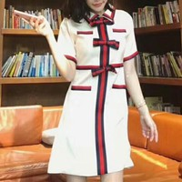 """Gucci"" Temperament Fashion Retro Multicolor Stripe Bow Lapel Short Sleeve Mini Dress"