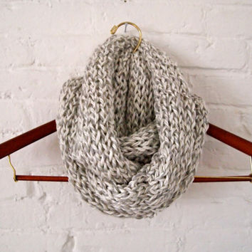 Hand Knit Infinity Scarf in Gray and White Classic Stitch Pattern, Ships Free