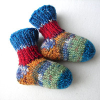 Thin newborn socks, blue mint red orange striped, thin wool baby booties, handknit, READY TO SHIP