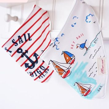 2pcs Sail Boat, Smile For Daddy & More Baby Bibs Bandana Toddler Burp Cloths Dribble Newborn Bib