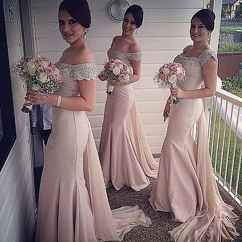 Vestido Longo Sexy Off The Shoulder Mermaid Long Bridesmaid Dresses Floor Length Vintage Party Dress 2016 Robe De Soiree
