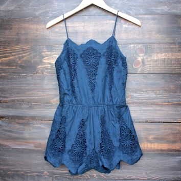 FINAL SALE - crochet and embroidered romper - navy