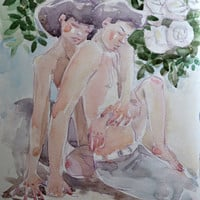 Custom Painting, Erotic Painting, Watercolor Art, Sexy Painting, Erotic Art, Watercolor Painting, Erotic Wall Art, Original Watercolor Art