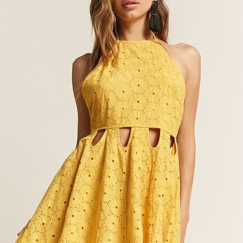 London Rose Cutout Eyelet Dress