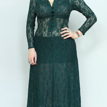 SALE - 80s/90s - Dark Green - See Through Lace - Corset Lace Up Back - Fitted Bodice - Button Up - Maxi Dress
