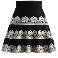 Contrast Lace Print Knitted Skater Skirt