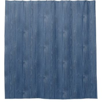 Blue Old Wood Shower Curtain