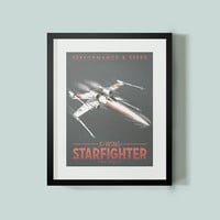 X-Wing Starfighter Star Wars Poster, Modern Wall Art, Star Wars Art, Star Wars Print, Sci-fi wall art, vintage car poster