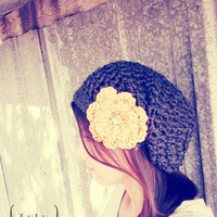 Crochet SLOUCHY WAFFLE BEANIE with removable hair clip by Lulu Belle Designs