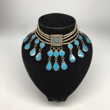 Afghan Ethnic Turkmen Kuchi Choker Tribal Blue Turquoise Inlay Necklace,Ck170