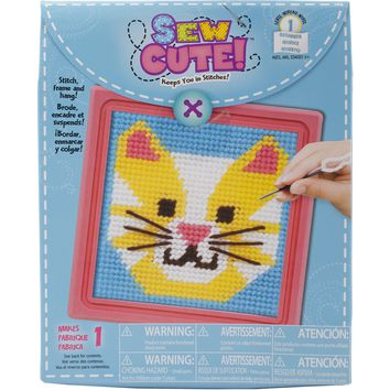 """Sew Cute! Cat Needlepoint Kit-6""""X6"""" Stitched In Yarn"""