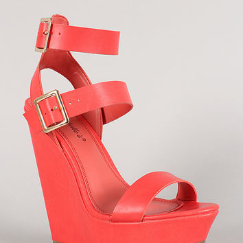 Breckelle Buckle Ankle Strap Open Toe Platform Wedge
