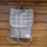 Gray Backpack Mini canvas UNISEX 2in1 rucksack SCREEN PRINT plaid Festival Backpack Cross body bag 2015 new design