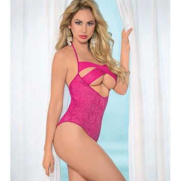 Mesh Criss Cross Front Halter Tie Teddy W-cut Out Back Fuchsia O-s