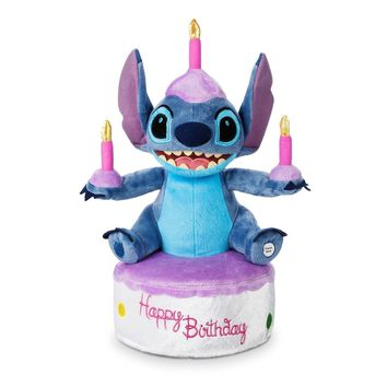 Disney Parks Stitch Happy Birthday Cake Stitch Light UP Plush New with Tags
