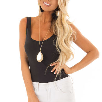 Cool Ebony Ribbed Sleeveless Bodysuit